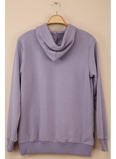 Z Giyim Kapşonlu Pamuklu Basic Sweatshirt Lila